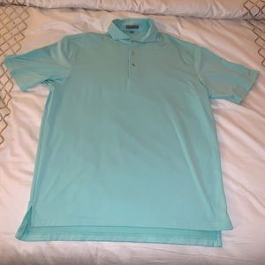 Peter Millar mint and white striped golf polo L